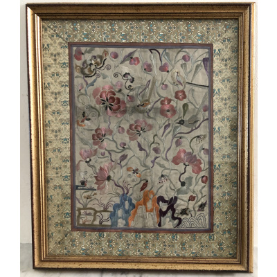 Antique Framed Embroidered Kimono Panel