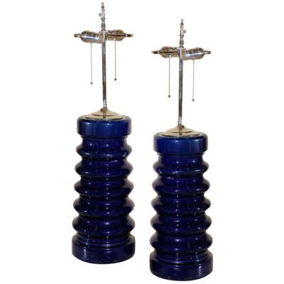 Antique Pair of Cobalt Insulator Lamps