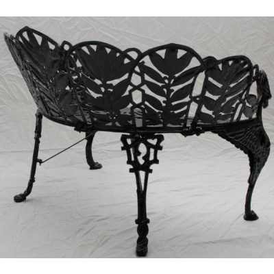 "Antique Cast Iron ""Laurel""Bench & Chairs"