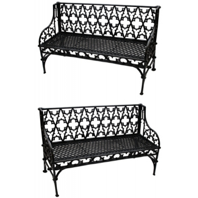 Antique Pair of Cast Iron Gothic Benches