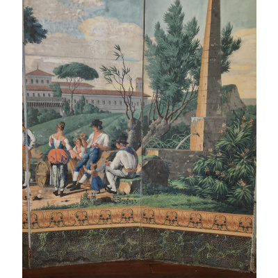 Antique Continental 6 Panel Paper Screen