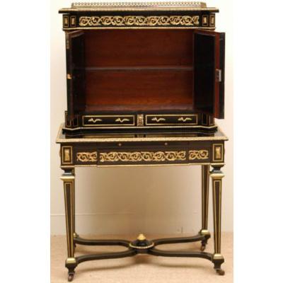 19th c. Ebonised Desk w/Hardstone