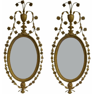 18th c. Pair of English Giltwood Mirrors