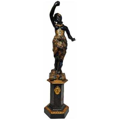 Antique Blackamoor Female Figure on Base