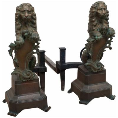 Antique Bronze Amorial Lion Andirons