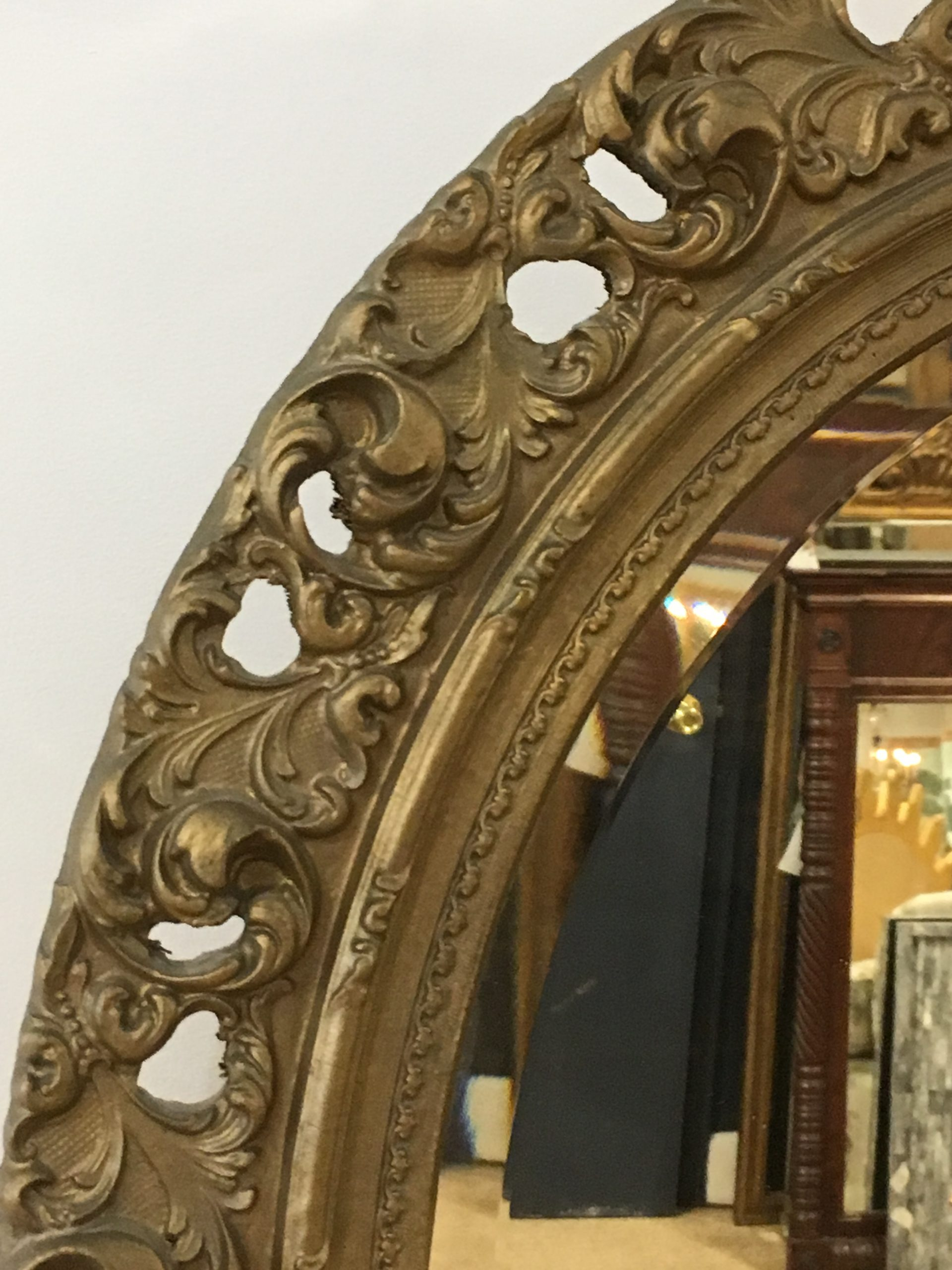 Antique Oval Beveled Mirror w/Gilt Fame