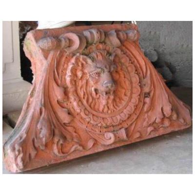 Antique Terracotta Lion Pediment