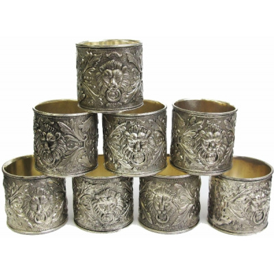Vintage Set/6 Repousse Napkin Rings