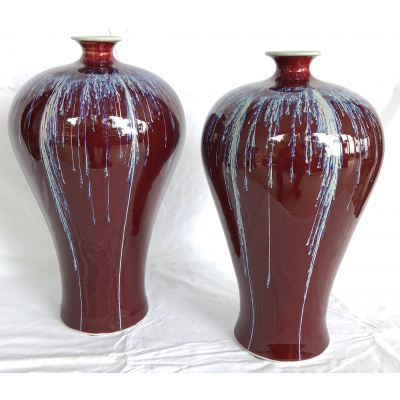 A Pair of Meiping Oxblood Flambe Vases