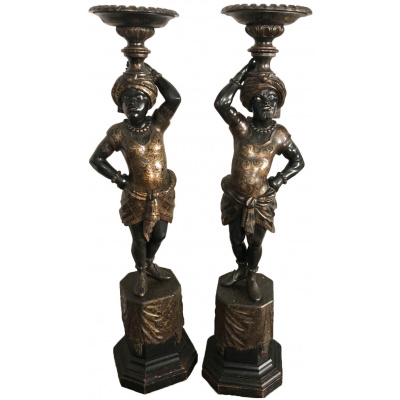 19th c Pair of Blackamoor Pedestals