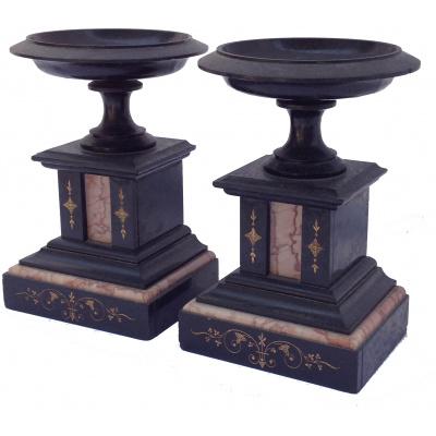 Antique Pair of Black Marble Tazzas