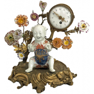 Antique Louis XVI Bronze/Porcelain Clock