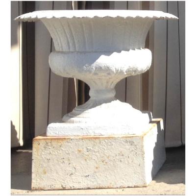 Antique Garden Urn w/White Paint Finish