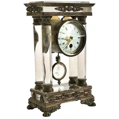 Antique Brunier Crystal Portico Clock