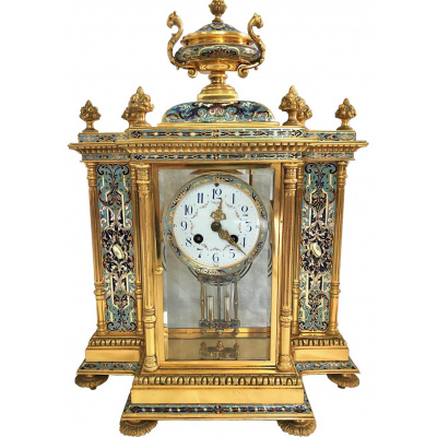 Antique French Champleve Clock Set