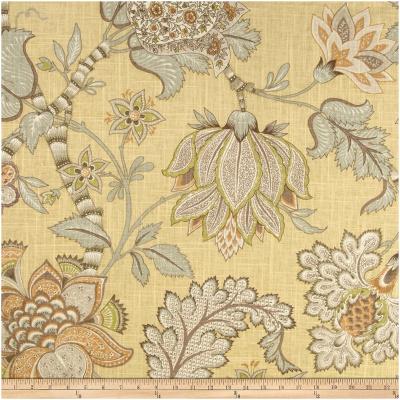 Yellow Jacobean Tree Linen CurtainPanels