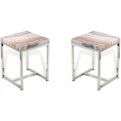 Pair of Cedric Square Onyx Drink Tables