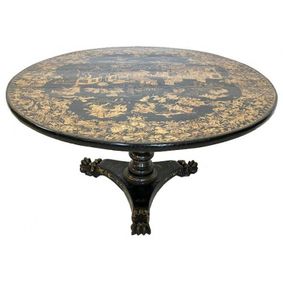19th c. China Trade Round Cocktail Table