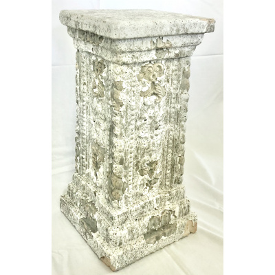 "Aged Whitewashed Terracotta 24"" Pedestal"
