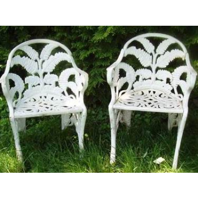 Antique Pair of Cast Iron Fern Chairs