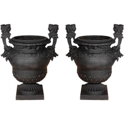 Antique Pair Cast Iron Boars Head Urns