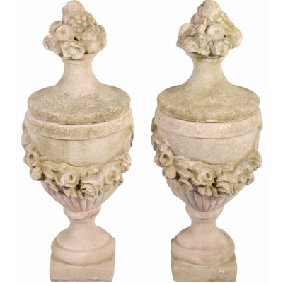 "Antique Pair 40"" Cast Stone Finial Urns"