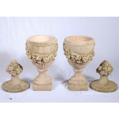 "Antique Pair 40"" Cast Stone Finial Urns"
