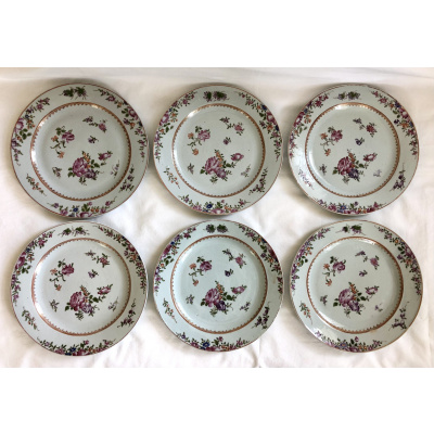 Chinese Export Famille Rose Plates Set/6