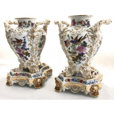 19th c. Pair Jacob Petit Vases w/Stands