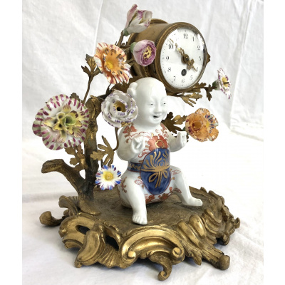 19th c. Louis XV Bronze/Porcelain Clock