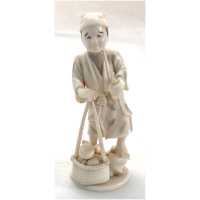 Antique Japanese Okimono of Man w/Basket