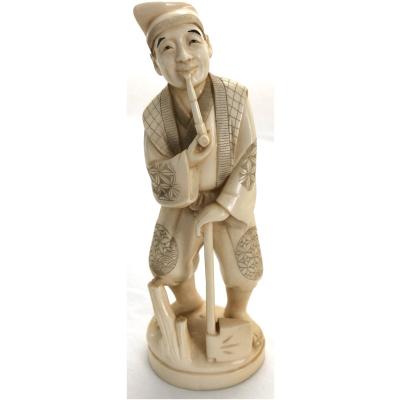 Antique Japanese Okimono of Woodsman