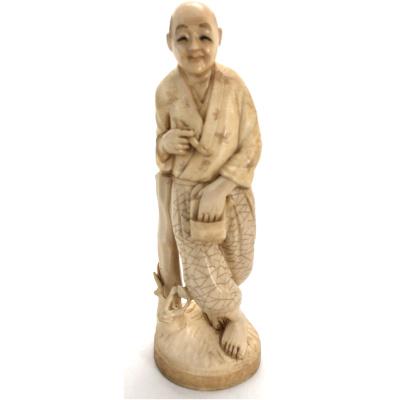 Antique Japanese Okimono of Man w/Pipe