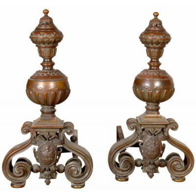 19th c. Pair of Castle Andirons