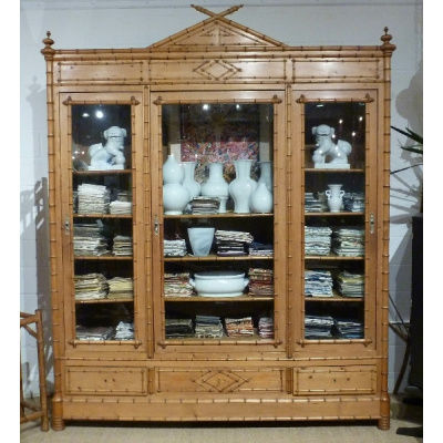 19th c French 3 Door Faux Bamboo Armoire