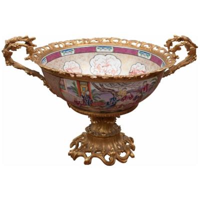 19c Chinese Export Bowl w/Bronze Mounts