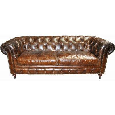 """Vintage Chesterfield 84"""" Leather Sofa"""